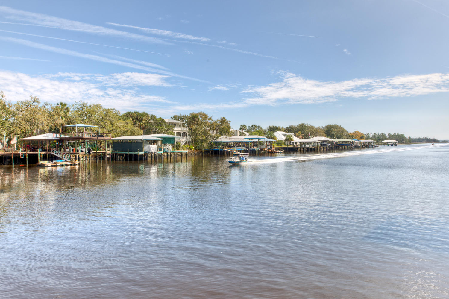 Watch boats and wildlife from dock